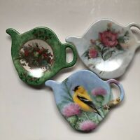 Lot Of 3 Tea Bag Holder Made In Italy Melamine Bird Flowers Fruits NEW