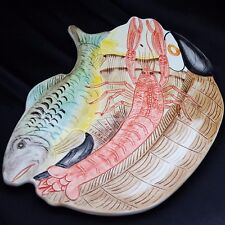 MINT ITALIAN Hand-Painted SEAFOOD Crawfish Trout Plate Wall Hanging 7296 Marked