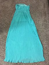 NWT Womens ya Los Angeles Aqua Blue Tube Silk Blend Maxi Dress Celebrate Style L