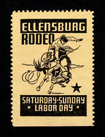 POSTER STAMP ELLENSBURG WASHINGTON RODEO - BUCKING HORSE COWBOY - MNG