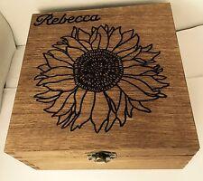 Personalised Wooden Jewellery Memory Box Sunflower 16cm Keepsake Valentine Gift