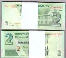 FULL BUNDLE OF 100 X ZIMBABWE 2 DOLLAR BOND NOTES BANKNOTE 2016 NEW ISSUE