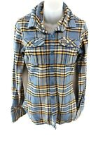 SUPERDRY Womens Shirt S Small Blue Yellow Black Check Cotton Polyester & Viscose
