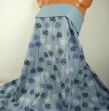 0,5 m Softshell Fleece *Blüten*, 17,90 €/m, blaugrau blau, Blumen