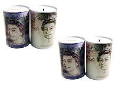 4 Pack Pound Note Design Piggy Bank Kids Money Change Savings Box Tin Toys