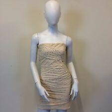 Topshop Ladies Beige Nude Mesh Gathered Diamante Bandeau Mini Dress UK Size 10