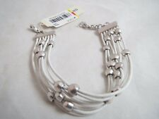 Lucky Brand multistrand silver tone beaded white cord bracelet, NWT