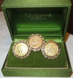 1908 $ 2.50 Quarter Eagle Cufflinks 1913 Tie Tac 14K Custom Made Gold Settings
