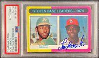 Lou Brock auto card Topps #309 1975 MLB St. Louis Cardinals PSA Encapsulated