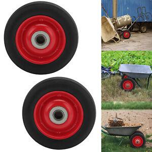 """2pcs 6"""" Solid Rubber Sack Truck Wheel Tyre Heavy Duty Wheel Trolly 16mm bearing"""