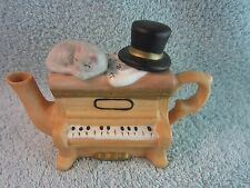 Decorative Tea Pot Porcelain Piano with Sleeping Cat and Hat on Top