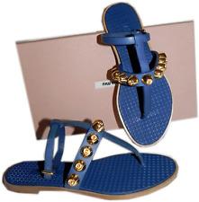 $720 Miu Miu - PRADA Blue Gladiator Studded Flat Sandals 36 shoe Thong Flip Flop
