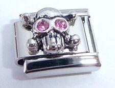 SKULL PINK GEMS Eyes Italian Charm 9mm Halloween fits Classic Bracelet October