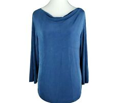 CHICOS Travelers Top - 2 Large L - Blue - Draped - Cowl Neck - 3/4 Sleeve