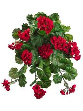 "32"" Water-Resistant Geranium Hanging Bush RED (Pack of 3) Artificial Flower Silk"