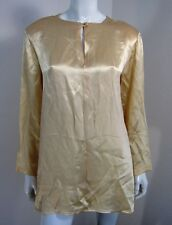 Neiman Marcus Long Sleeve Silk Keyhole Blouse Size S SOLID Cream Beige