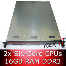 1HE / 1U Rack Server 64bit - 2x Six-Core CPU 2.60GHz - 16GB RAM - 2 x 1TB HDD