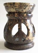 "Soapstone Oil Burner/Warmer Aromatherapy Lamp  3"" Peace Sign"