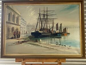 Fabulous Original Oil Painting Of A Ships In A Harbour Scene By Terry Burke
