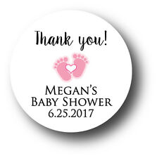 30 Baby Girl Shower Personalized Stickers - Thank you! pink baby feet & heart