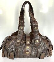 Chloe Silverado Brown Python Leather Shoulder Hand Bag Women