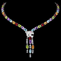 100% NATURAL 7X5MM AMETHYST TOPAZ PERIDOT GARNET CITRINE SILVER 925 NECKLACE