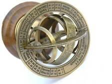 Nautical 6 Inches Vintage Solid Brass Armillary World Globe - Nautical Decor