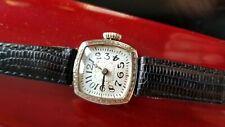 Early Swiss 18K Lady's Deco Radial Dial Wrist Watch 15J  Mvt. Wire Lugs, Ca.1918