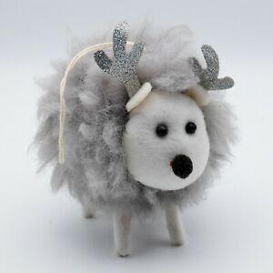 SHEEP fluffy fabric LARGE CHRISTMAS TREE or shelf DECORATION 11cm BNWT