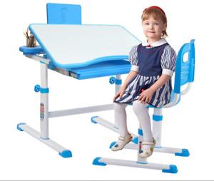 Desk Study Set+Chair For Kids, Blue,  Adjustable Height  Student Children Table