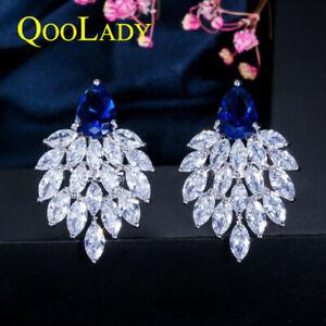 Classic Design Cubic Zircon CZ Big Drop Leaf Stud Earrings Women Ladies Jewelry