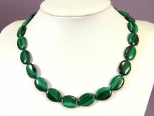 """Charm Fashion 13x18mm oval green malachite necklace vintage 18 """"AAAYP"""