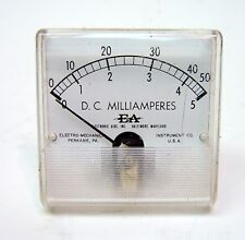 ANALOG SQUARE PANEL MILLIAMPERE METER 0-5/0-50mA DC MADE IN USA