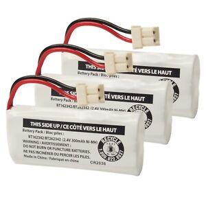 3-Pack Genuine VTech BT162342/BT262342 2.4V 300mAh Cordless Phone Battery Packs