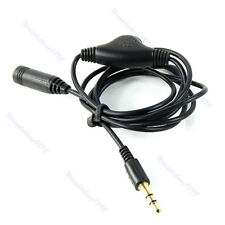 1M 3.5mm Cable M/F Stereo Headphone Audio Extension Cord with Volume Control New