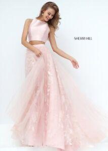 Sherri Hill Two Piece Open Back Gown - Blush Size XS
