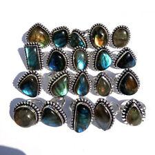 Natural !! Wholesale Lot 50 Pcs. LABRADORITE Gemstone 925 Sterling Silver Ring