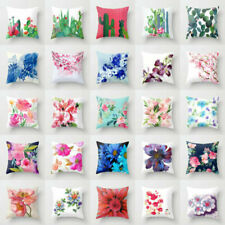 Cotton Linen Flower Pillow Case Sofa Car Throw Waist Cover Home Decor Cushion