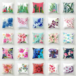 Cotton Linen Flower Pillow Case Sofa Car Throw Waist Cover Home Decor Cushion