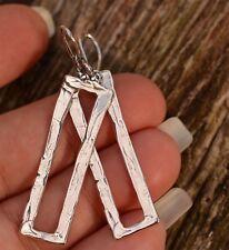 Sterling Silver Minimalist Earrings, Tall Open Rectangle Earrings