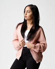 New ex ASOS Pink Chunky Fluffy Rib Open Front Cardigan RRP £30 Sizes 2 - 18
