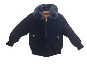 Boys Faux Fur Collar Winter Bomber Jacket Blue 2 - 14 years