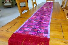 """Colorful Guatemalan Hand Woven Loom Table Runner 100% Cotton Natural Dye 104""""14"""""""