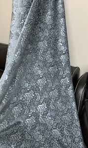 """1 Mtr Grey Quality Embossed Dress Upholstery Stretch Velvet Fabric 58"""" Wide"""