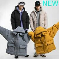 Coat Winter Outwear Men's Jacket Overcoat Padded Parka Hooded Thicken Faux Fur