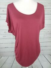 Hippie Chic Womens Sz Large Ruched Sides Short Sleeve Top