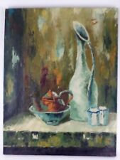 E.C. Cartier OLD Still Life Oil Painting on Canvas - Mid Century Vintage