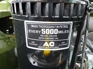 Triumph TR2 TR3 TR3a TR4 TR5 AC Oil Bath Air Cleaner Filter Vintage Label Decal
