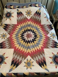 LONE STAR Full Queen QUILT SET 8 POINT FLORAL FARMHOUSE Blue multi flying geese