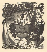 Nixe Segelboot Exlibris Mark SEVERIN Graseman Sailboat Mermaid Wood Engraving X2